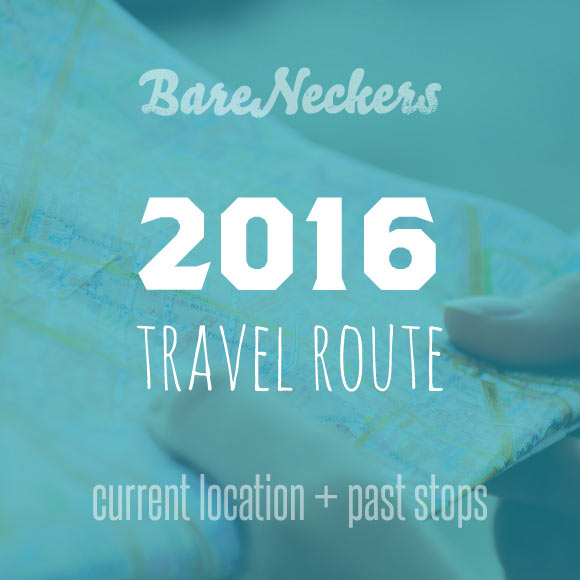 2016 Travel Route - Current Location and past stops