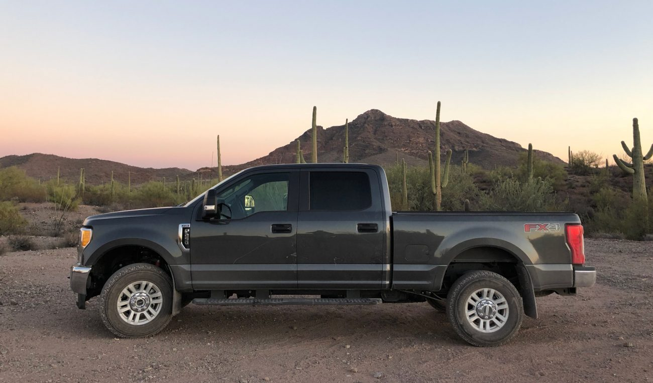 2017 Ford F250 At Sunset With Mountain And Cacti