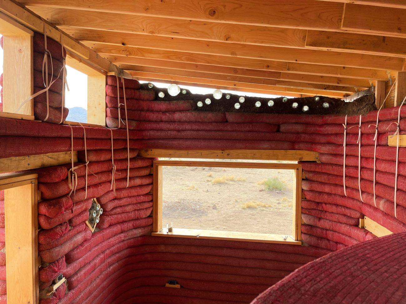 Hyperadobe Solar Shed Office Interior