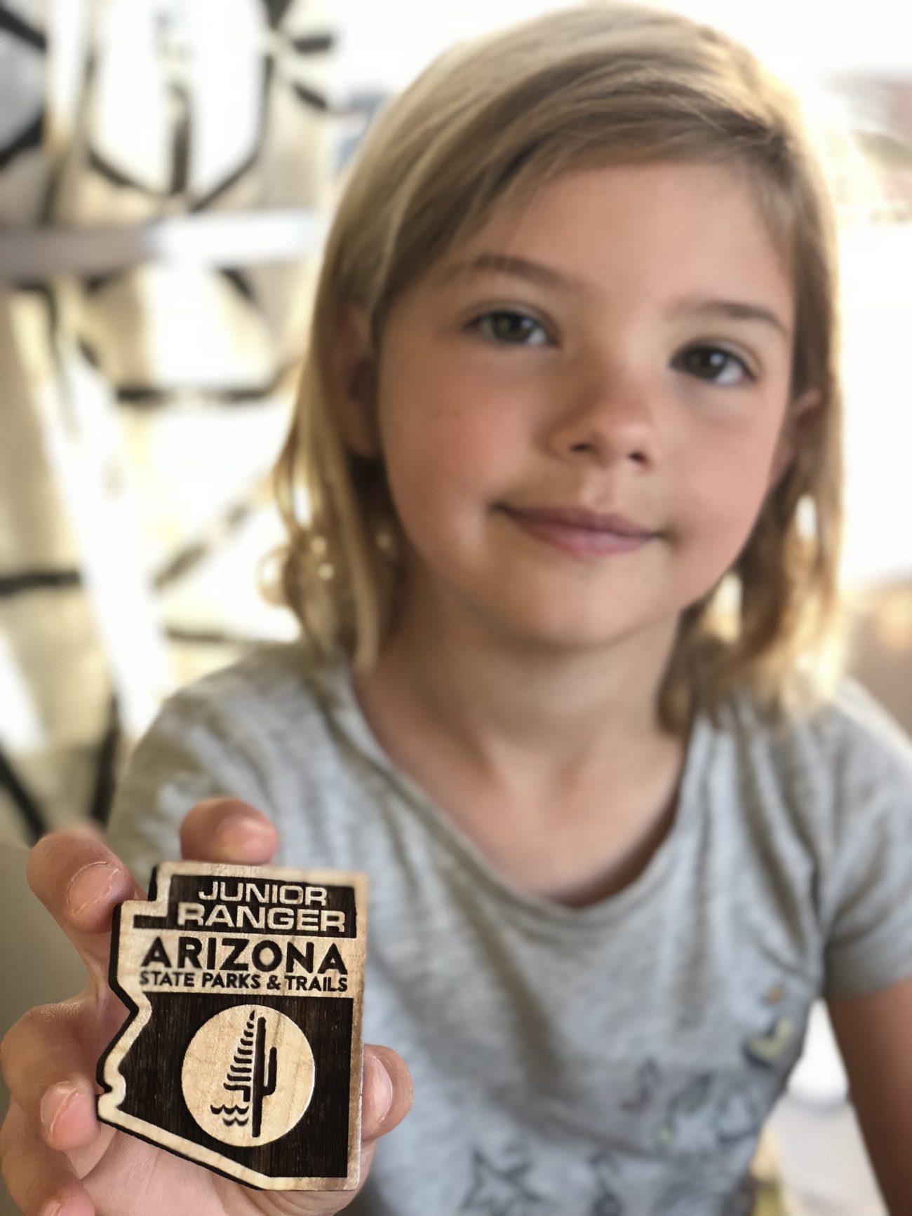 Ada with Arizona State Park Junior Ranger Badge