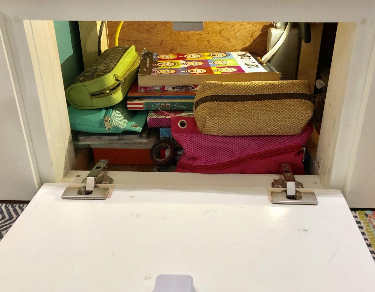 Under bed storage in Airstream