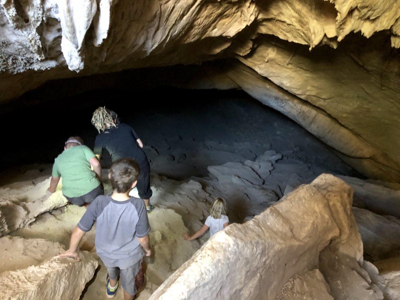 Kids Going in the Cave at Coronado National Memorial