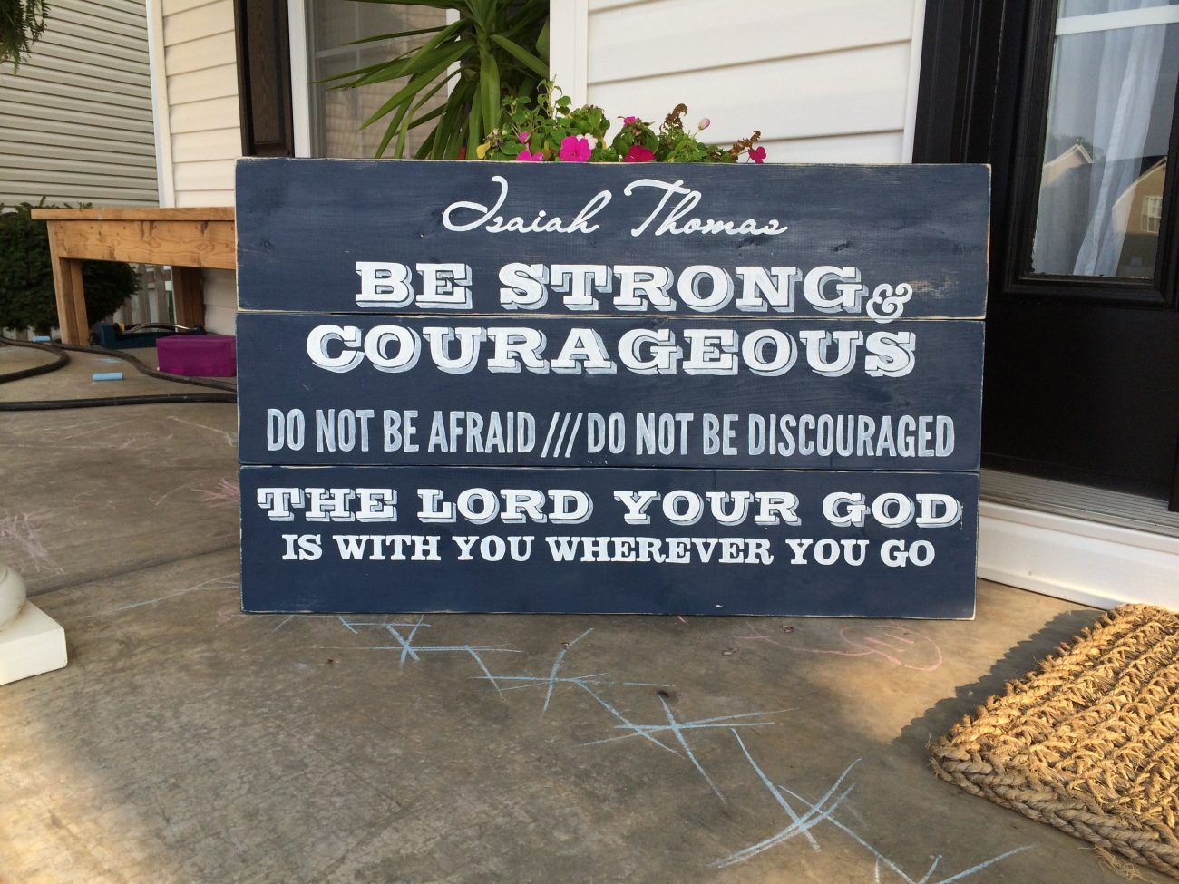 Be Strong and Courageous Finished Sign