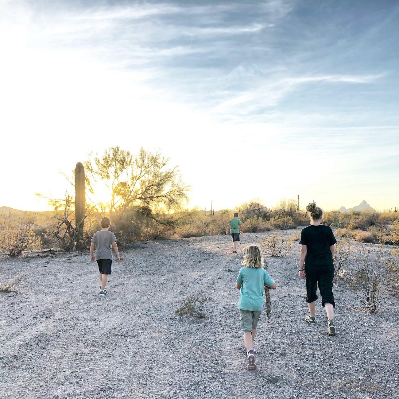 Kids hiking in desert wash near Ajo, AZ.