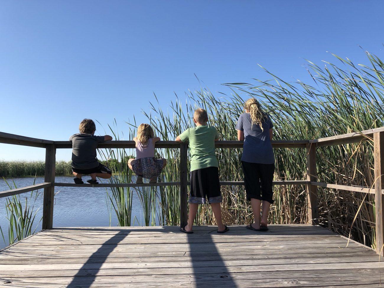 Kids overlooking pond