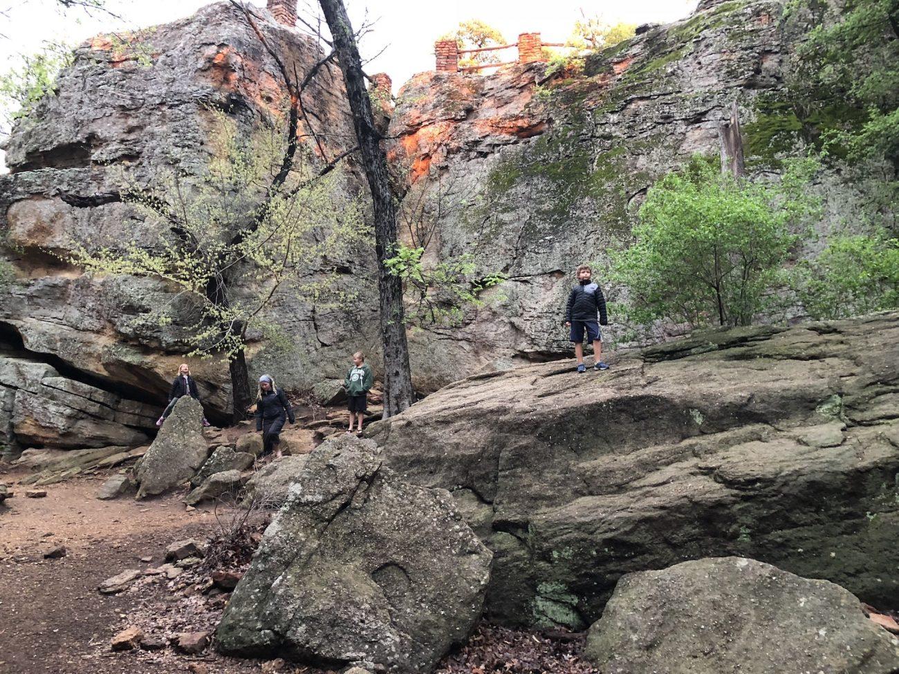 Kids at at rock climbing area at Lake Mineral Wells