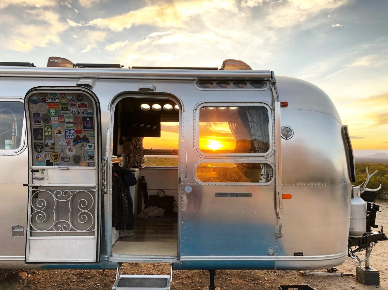 Side view of Airstream at sunset