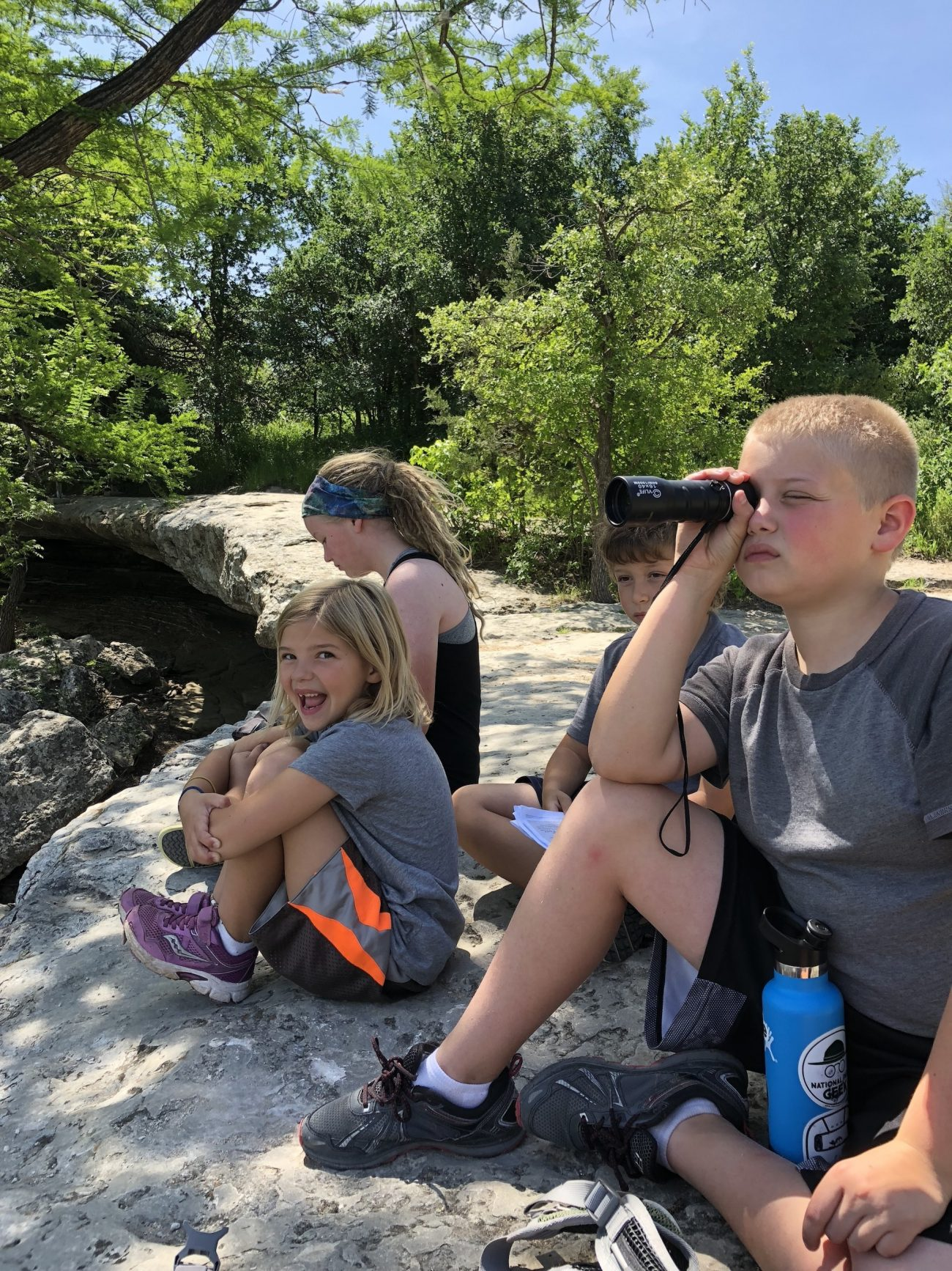 Watching Turtles at the Upper Falls at McKinney Falls State Park