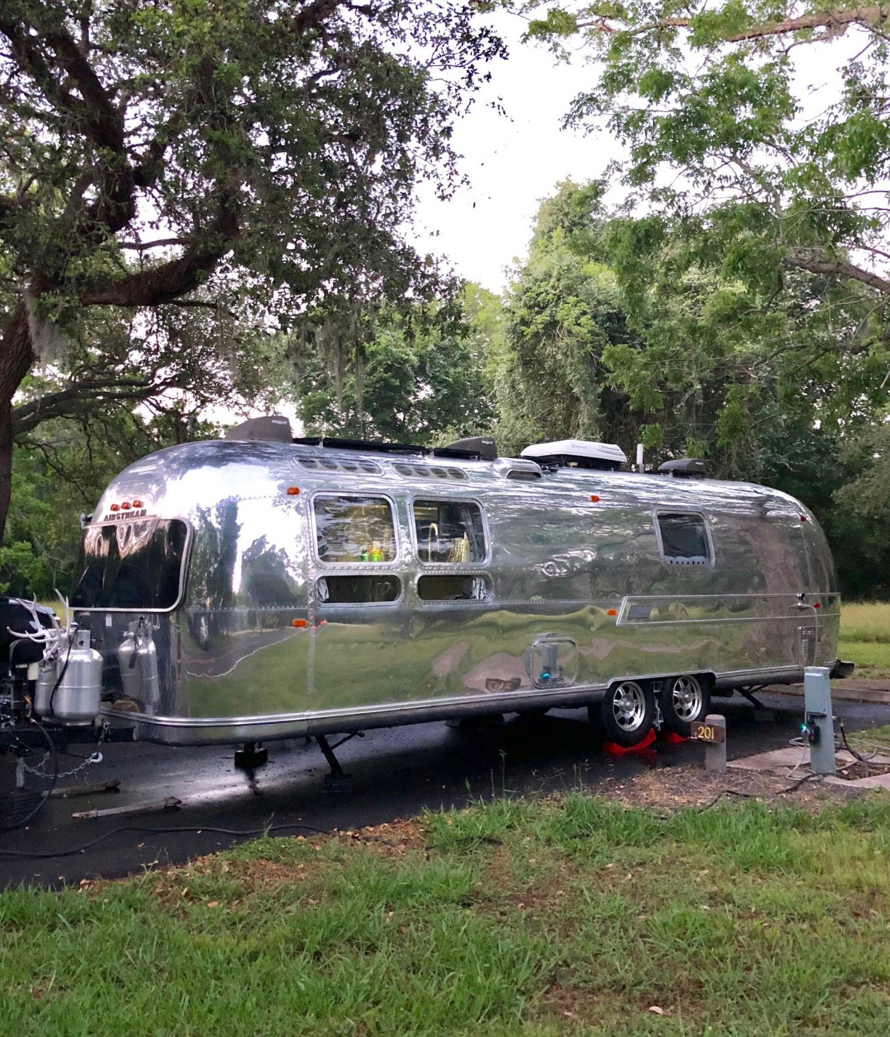 Airstream at campsite after getting washed.