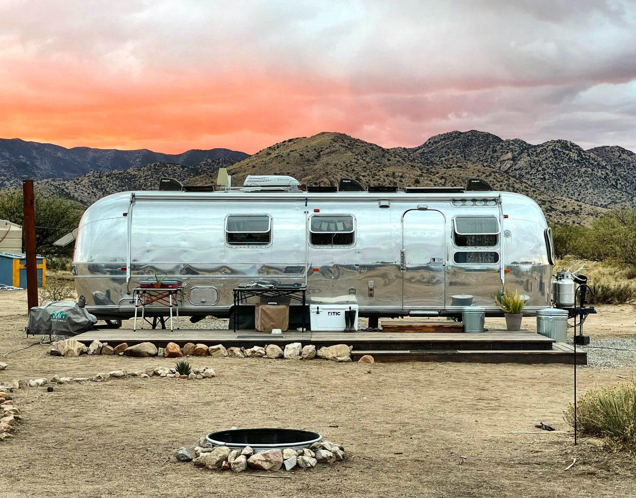 Airstream property sunset