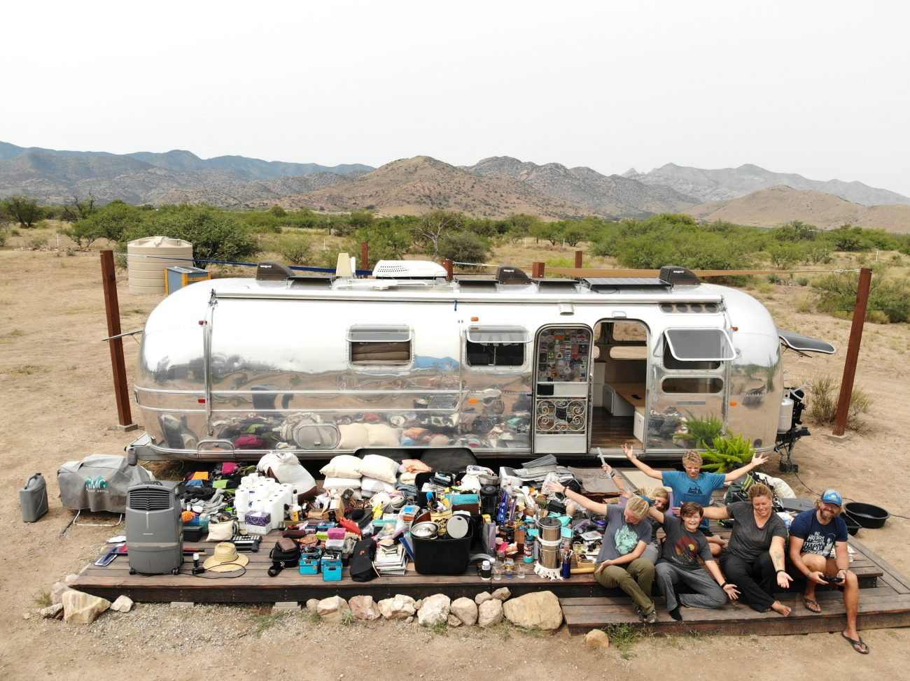 We pulled all our stuff out of our renovated vintage Airstream and deep cleaned everything!