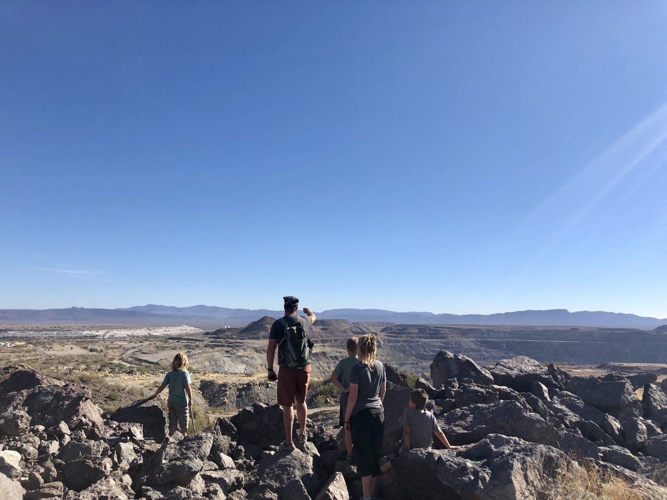 Jon and kids at top of mine overlooking the Ajo valley.