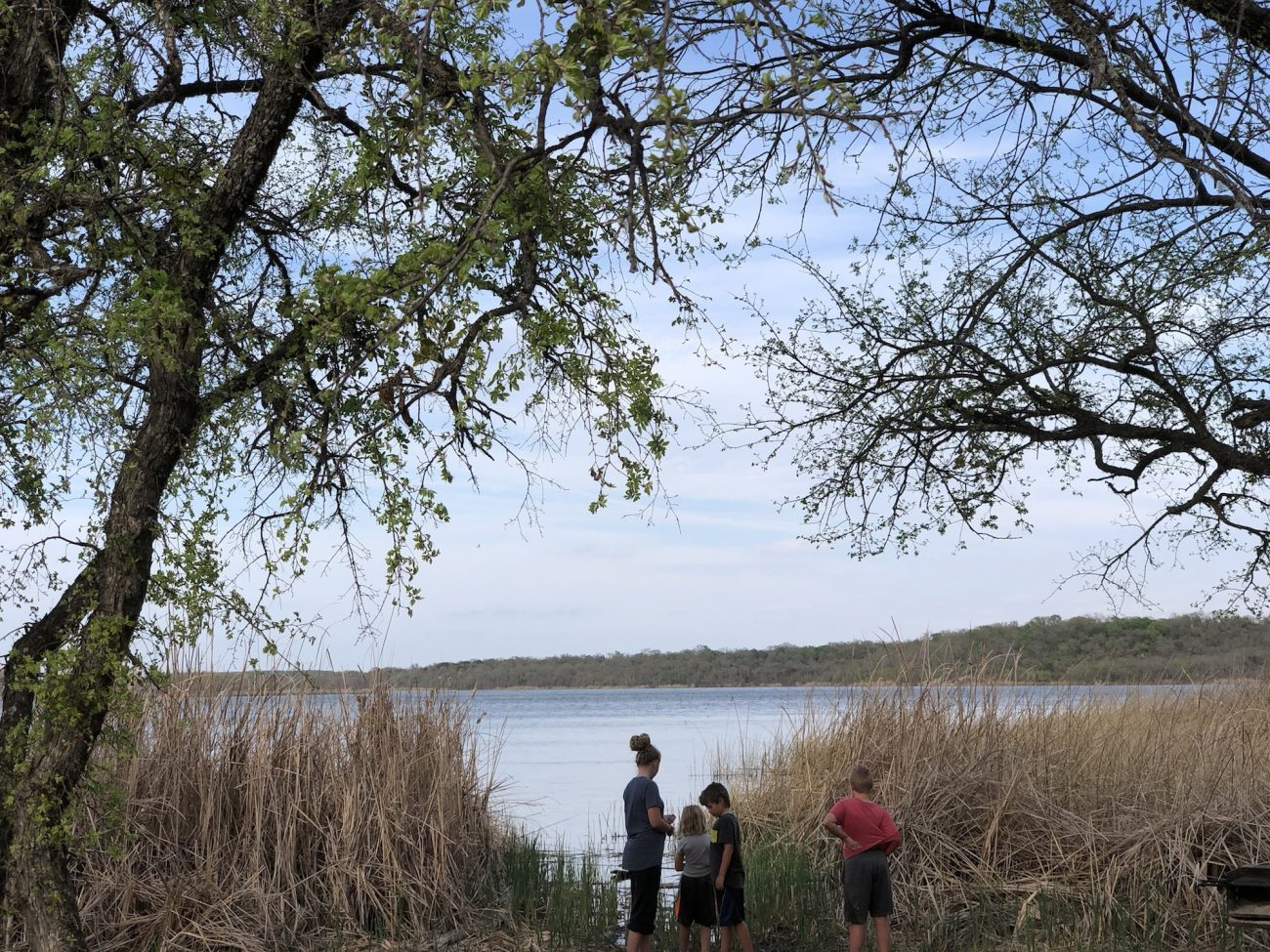 Our Campsite view at Lake Mineral Wells State Park