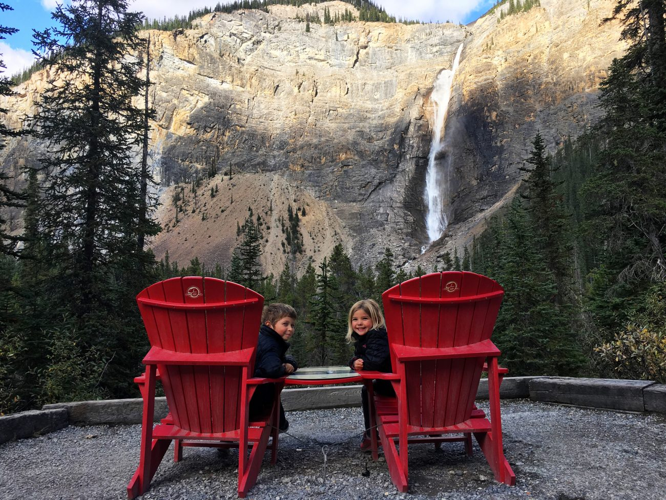 Canada Takakkaw Falls Red Chairs