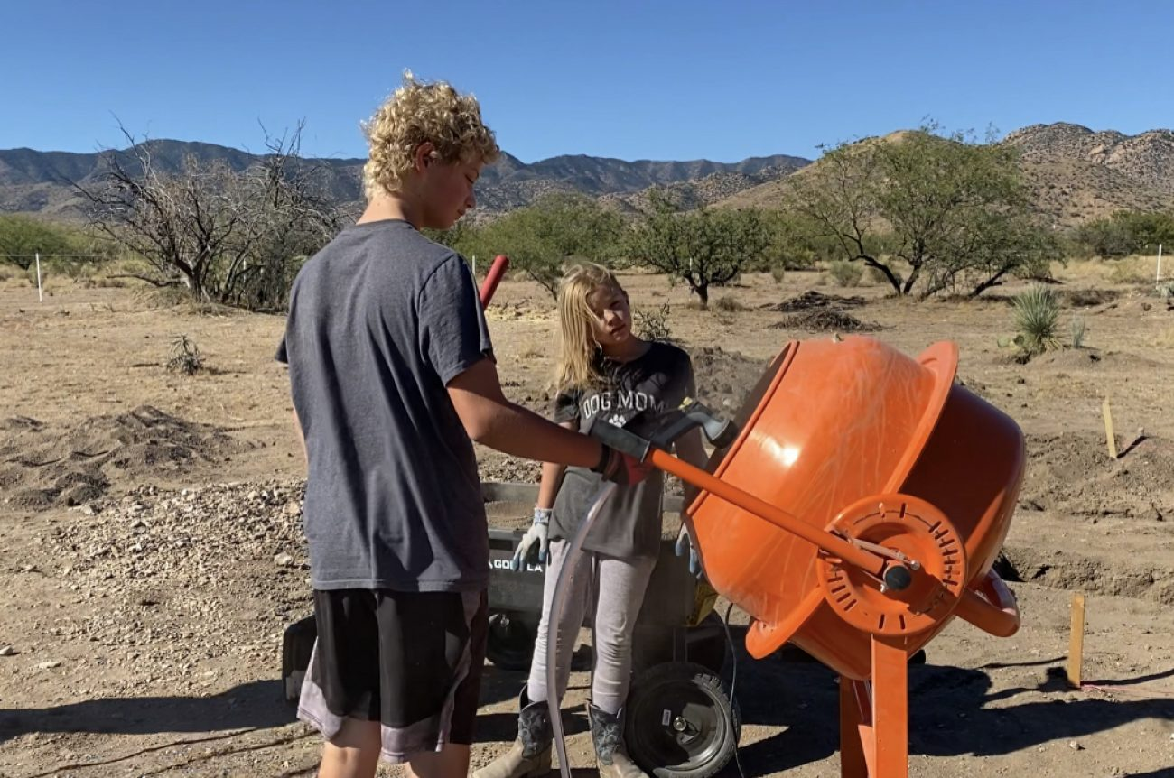 Kids Using Cement Mixer