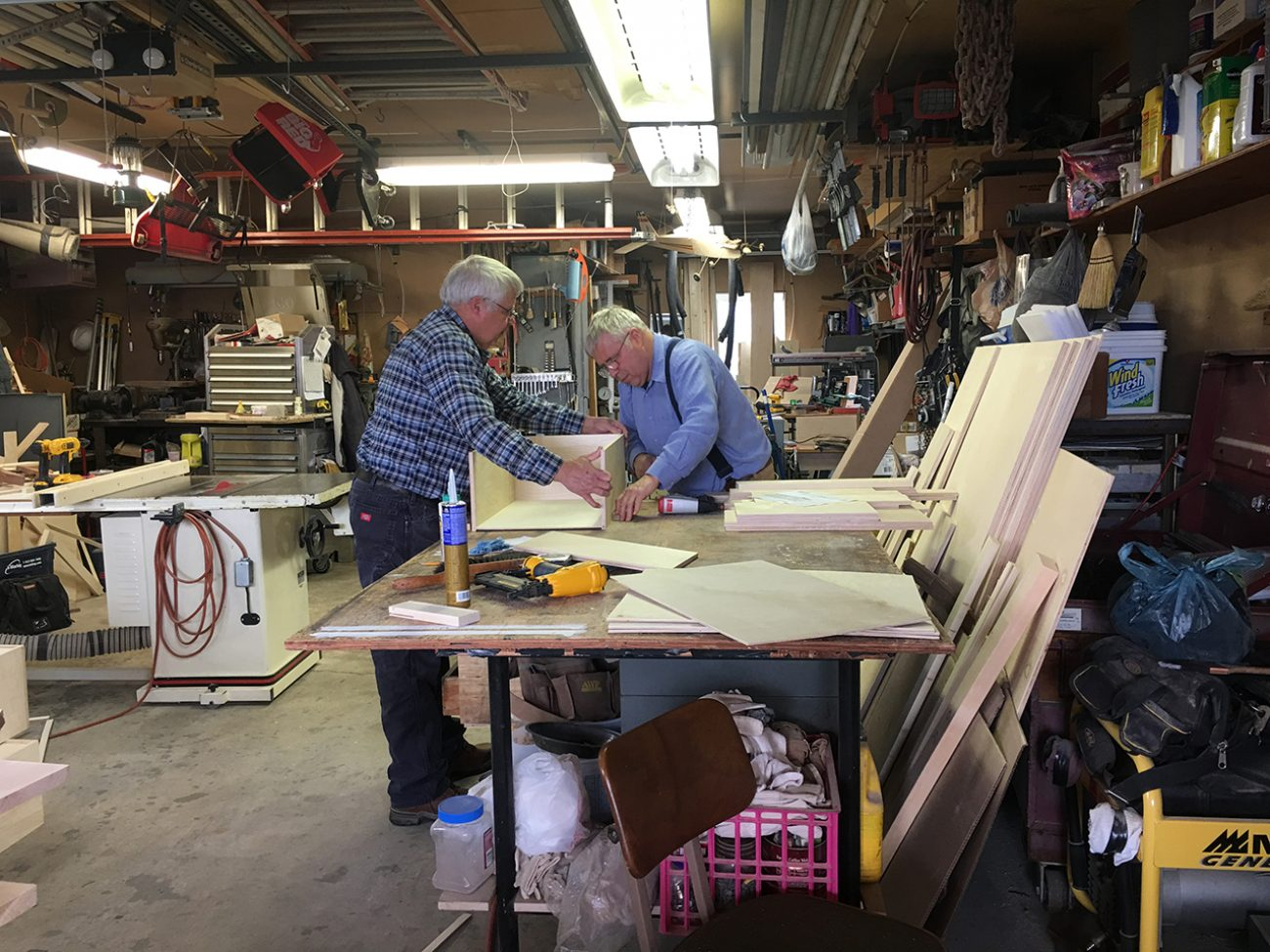 Dad And Fred Making Drawer Boxes