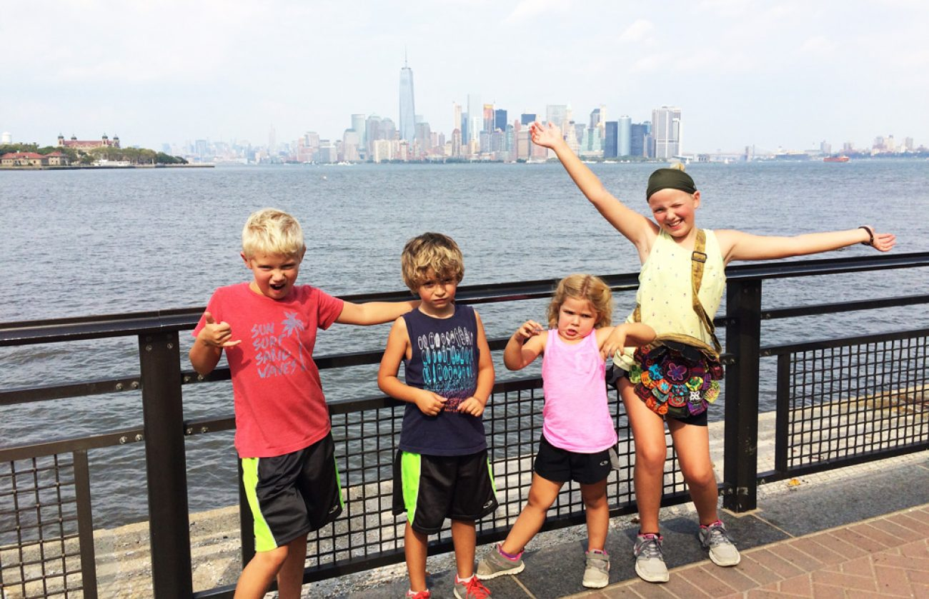 Kids with NYC in the background