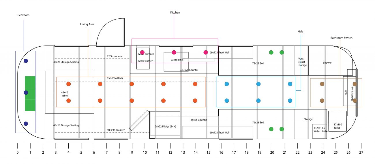 Airstream floorpan with light groupings and appliance locations.