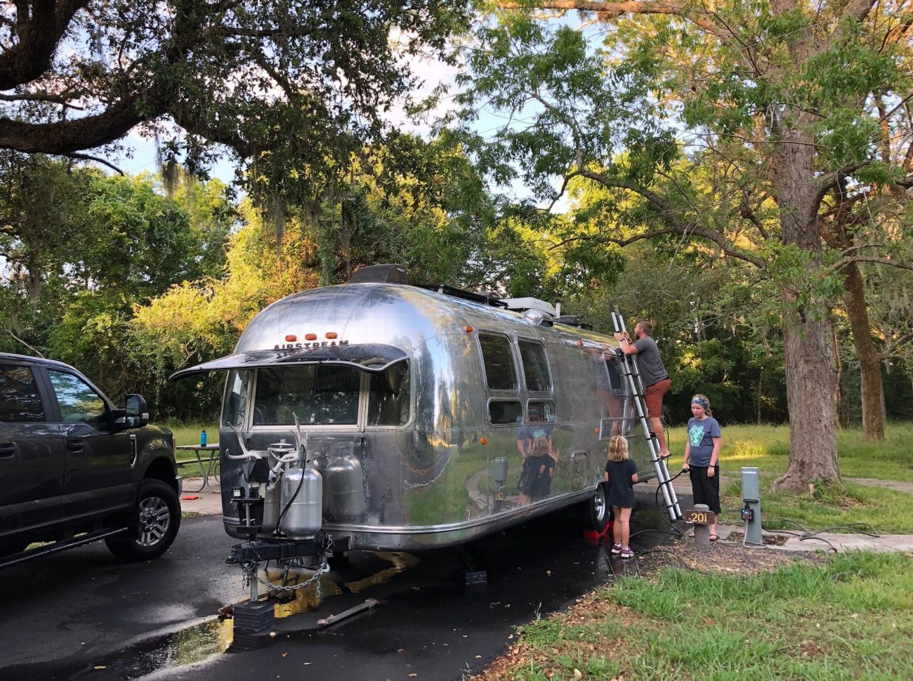 Washing Airstream and Getting Sand Off Top