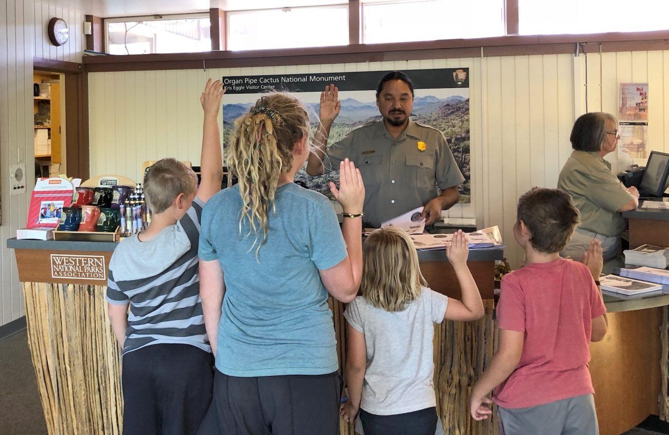 Kids being sworn in at Organ Pipe Cactus National Monument