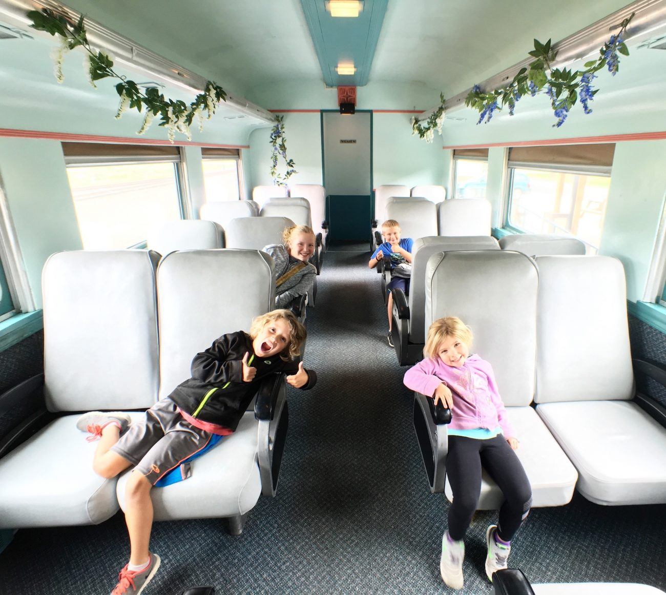 kids on a train