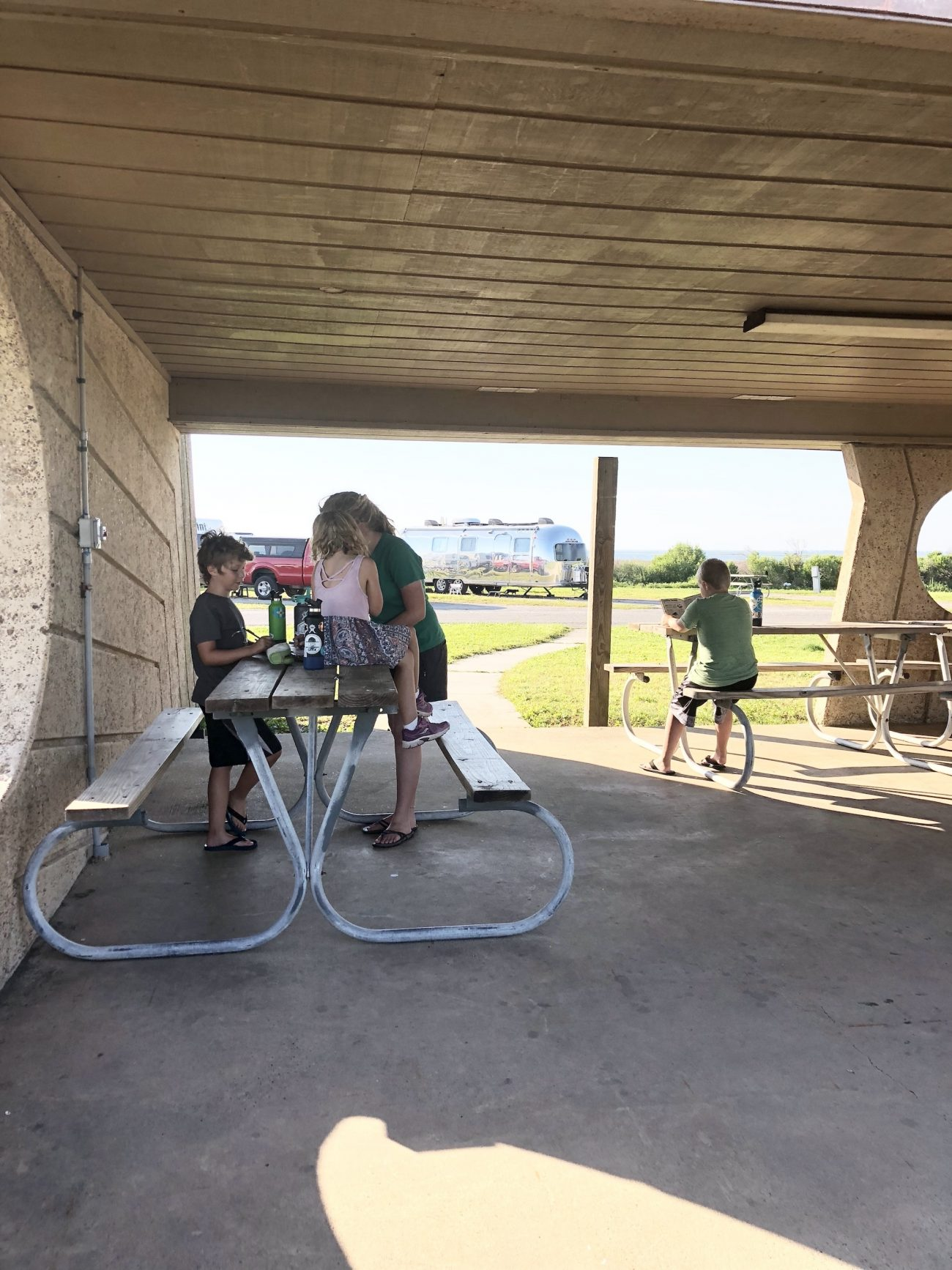 kids in picnic overhang playing
