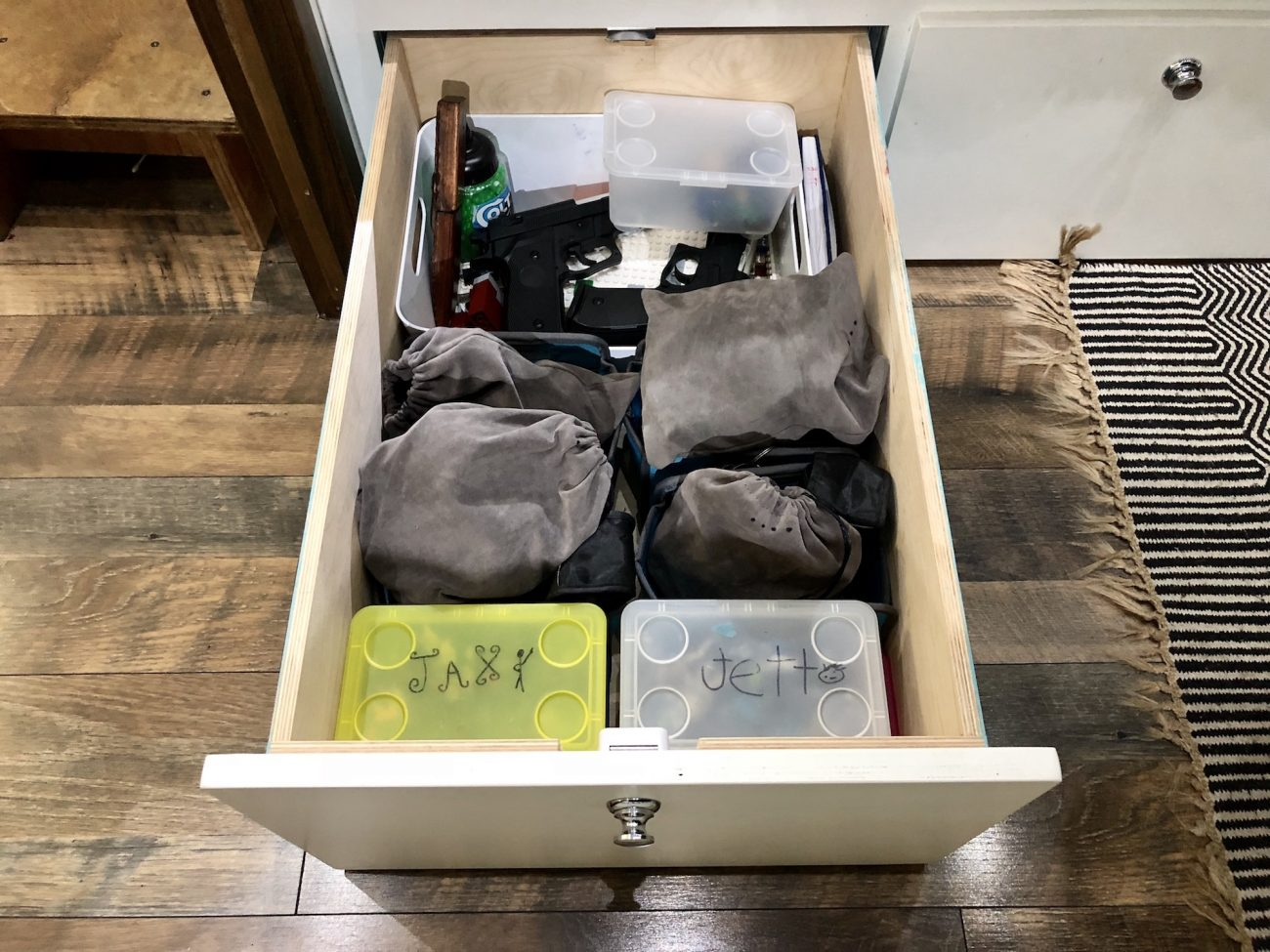 Kids toy drawer in Airstream