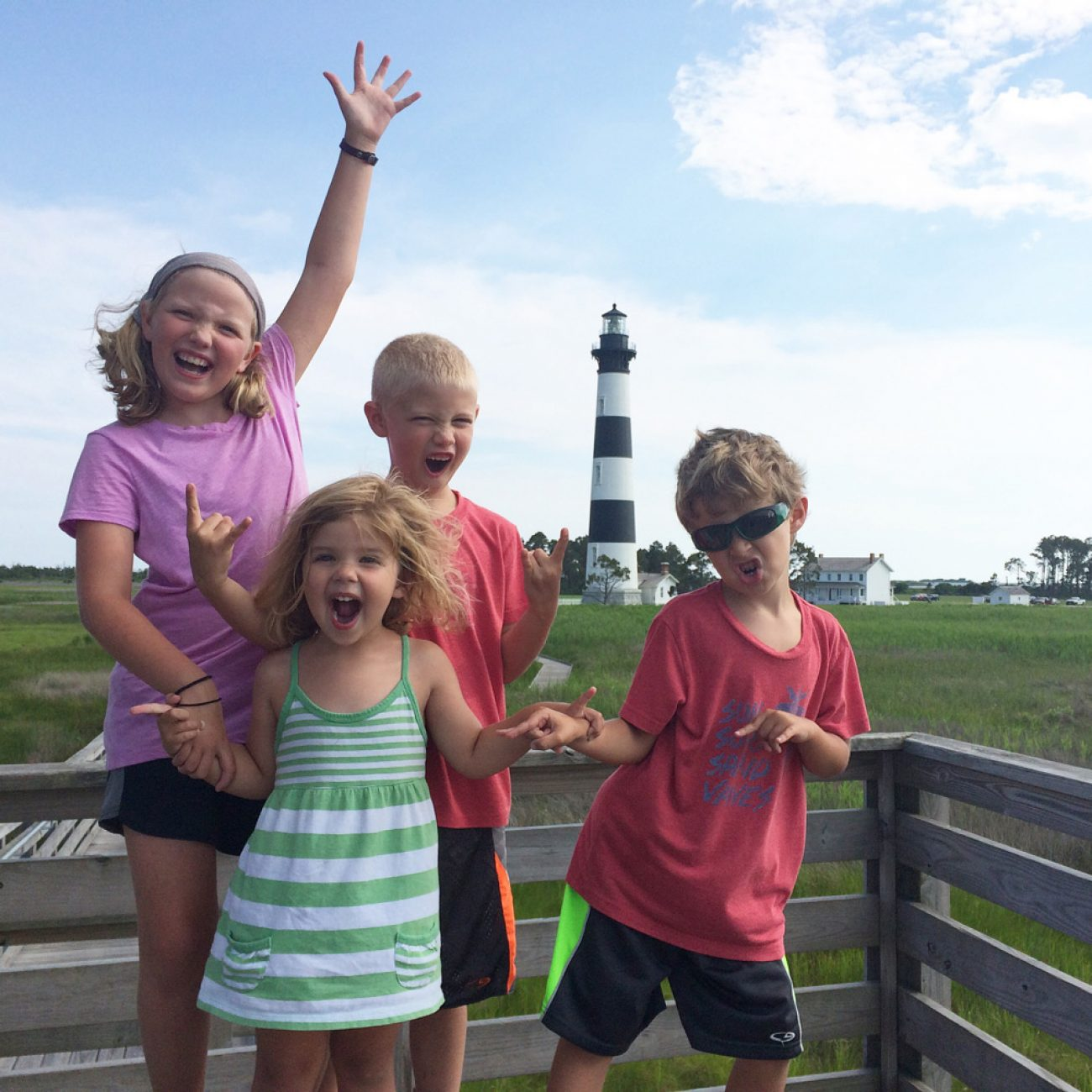 Kids at Bodie Island Lighthouse