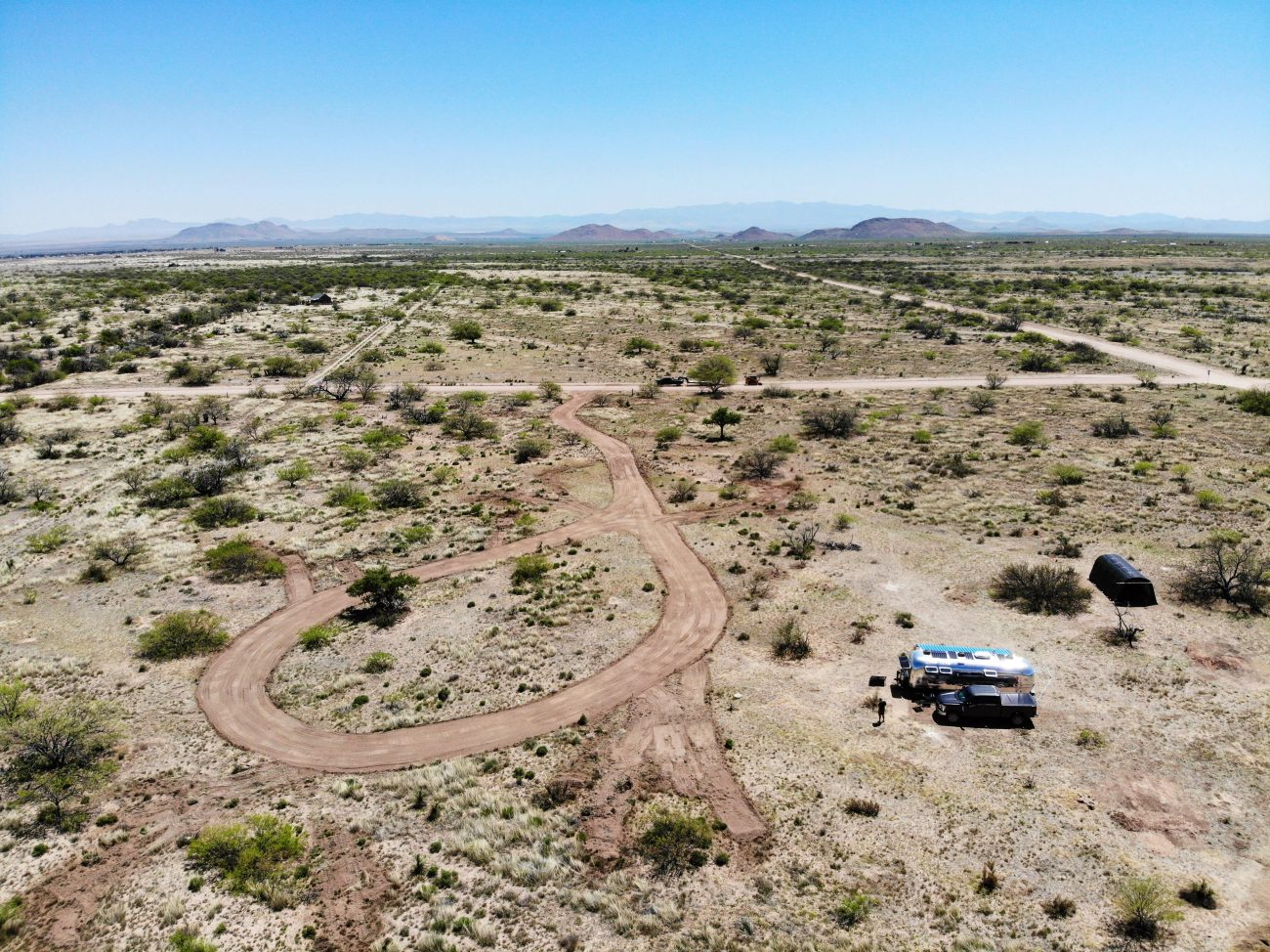 Ariel view of driveway on off-grid property