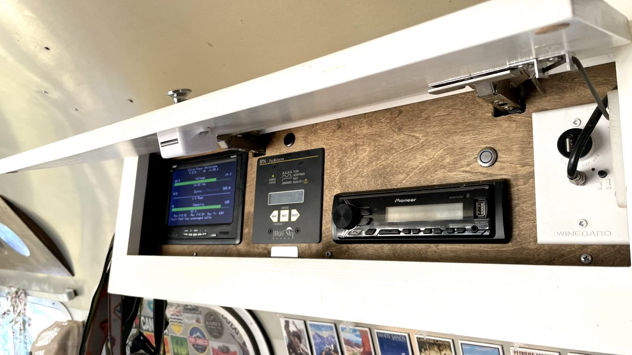 Car radio deck installed in Airstream