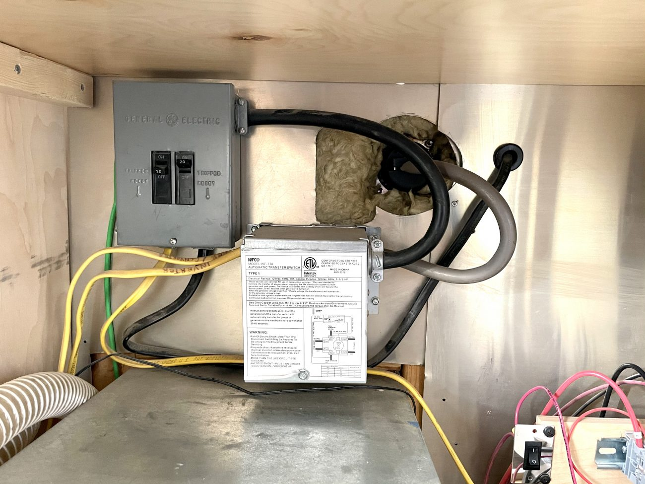 Shore power comes into transfer switch which goes out to breaker box, inverter, and converter.