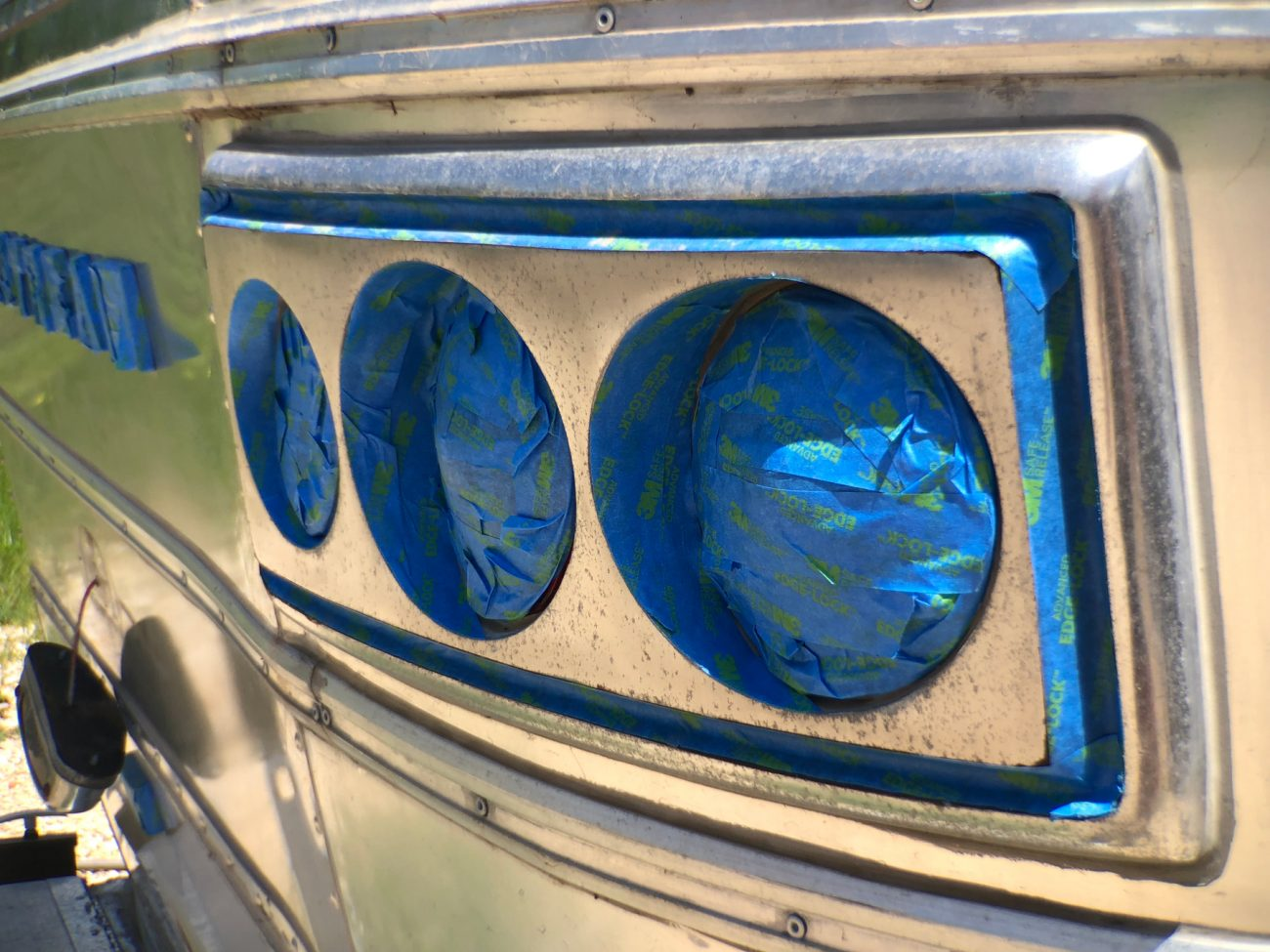 Airstream Tail Lights Taped Off