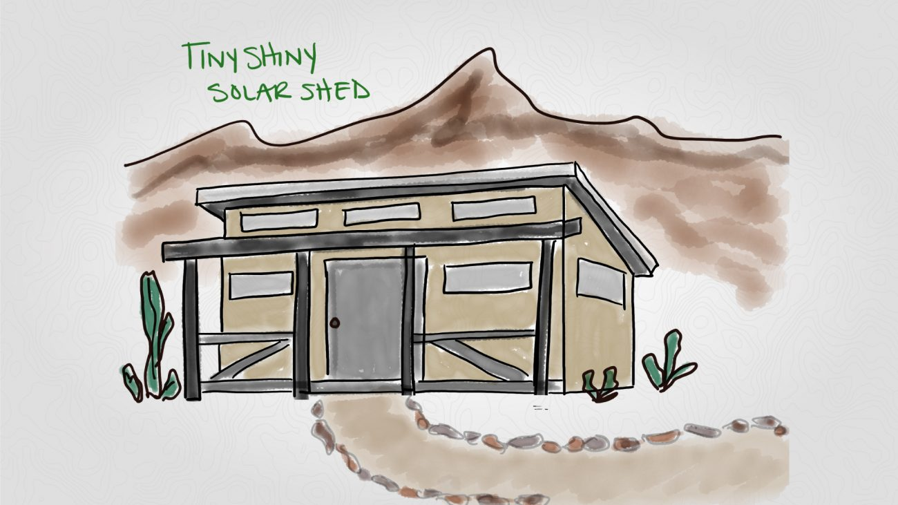 Tiny Shiny Solar Shed Illustration