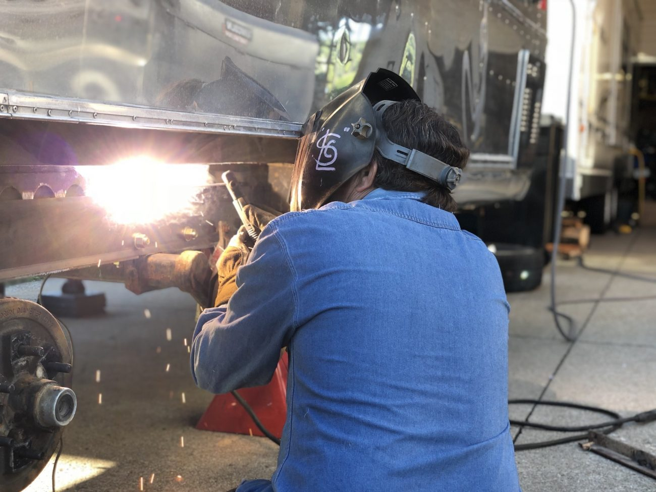 Welding Steel to Frame of the Airstream