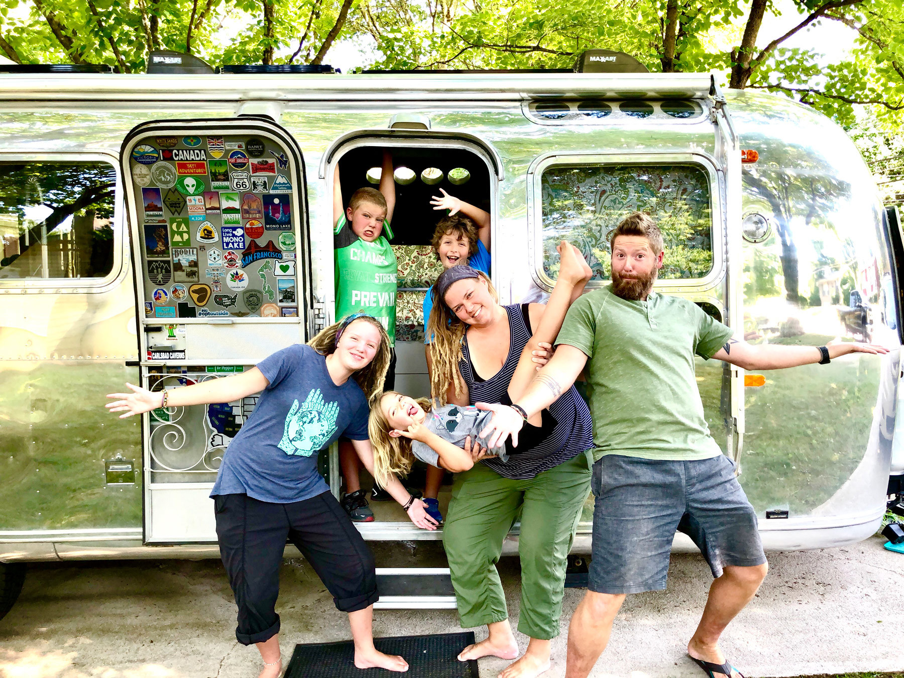 Longnecker Family in front of Airstream